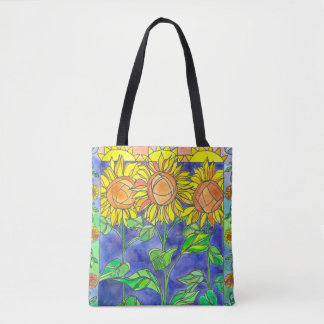 Sunset Sunflower Crescent Moon Watercolor Flowers Tote Bag