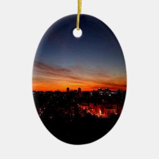 Sunset Sunlight Blankets City Ornament