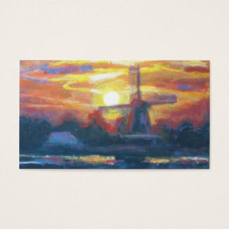 Sunset/ Sunrise Windmill Painting Art Business Card
