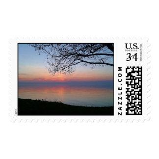 Sunset @ SUNY Oswego on Lake Ontario Postage