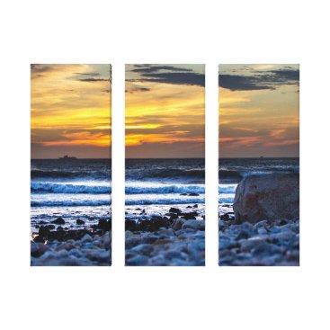 Beach Themed Sunset Surf and Rocky Beach Canvas Print