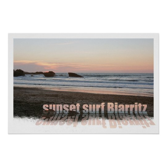 sunset surf Biarritz Poster