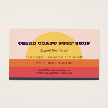 Beach Themed Sunset Surf Shop Professional Business Business Card