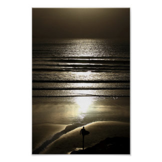 Sunset Surfer at Polzeath Poster