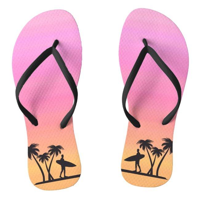 Sunset Surfer Black Silhouette Sports Flip Flops