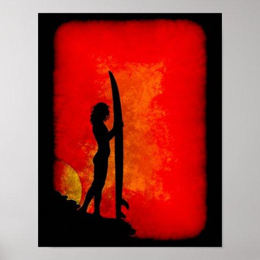 Sunset Surfer Girl Poster