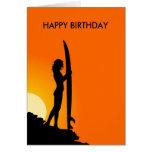 Sunset Surfer Girl with surfboard Happy Birthday Cards