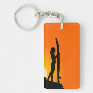 Sunset Surfer Girl with surfboard Keychain