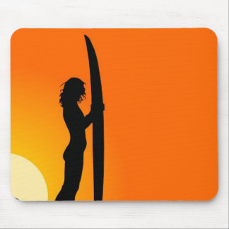 Sunset Surfer Girl with surfboard Mouse Pad