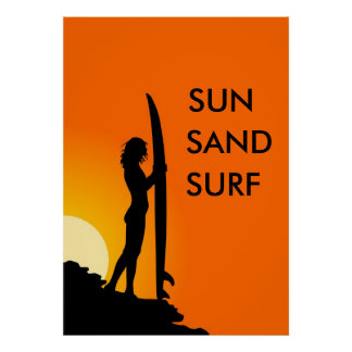 Sunset Surfer Girl with surfboard, Sun, Sand Surf Poster