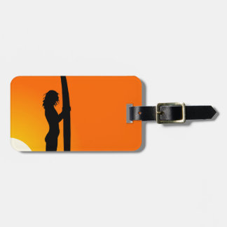 Sunset Surfer Girl with surfboard Tag For Luggage
