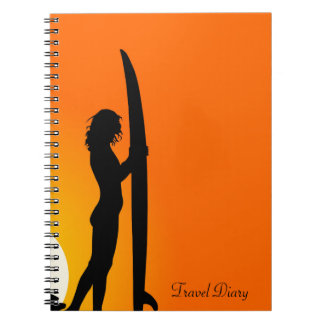 Sunset Surfer Girl with surfboard Travel diary Spiral Notebook