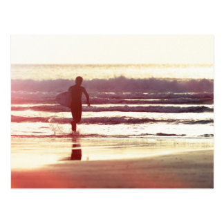 Sunset Surfer Greeting Card Postcard