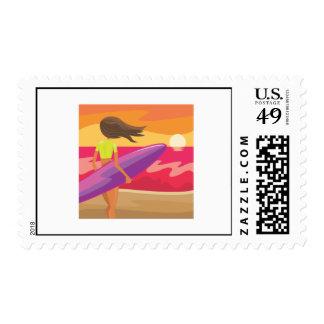 Sunset surfer postage