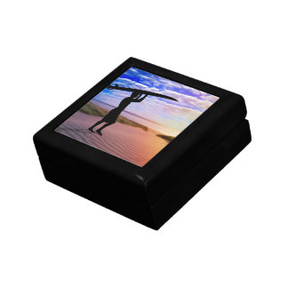 Sunset Surfer Sand and Clouds Jewelry Box