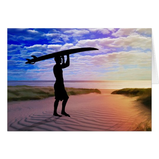 Sunset Surfer Sand & Clouds Card