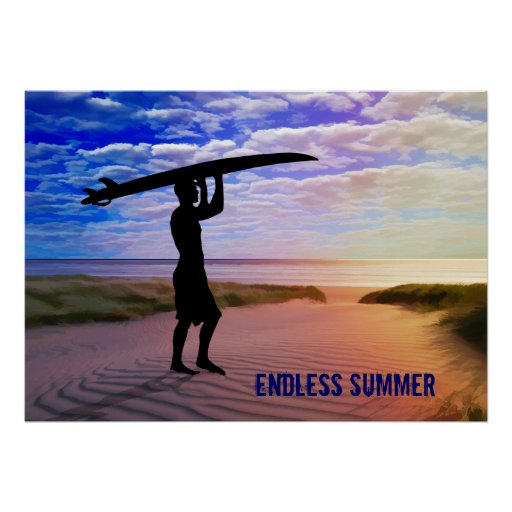 Sunset Surfer Sand & Clouds Poster