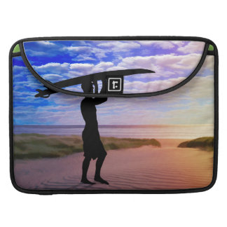 Sunset Surfer Sand & Clouds Sleeve For MacBook Pro