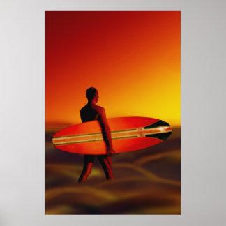 Sunset Surfer Surfing Poster