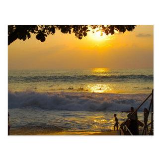 Sunset Surfers in Hawaii Postcard