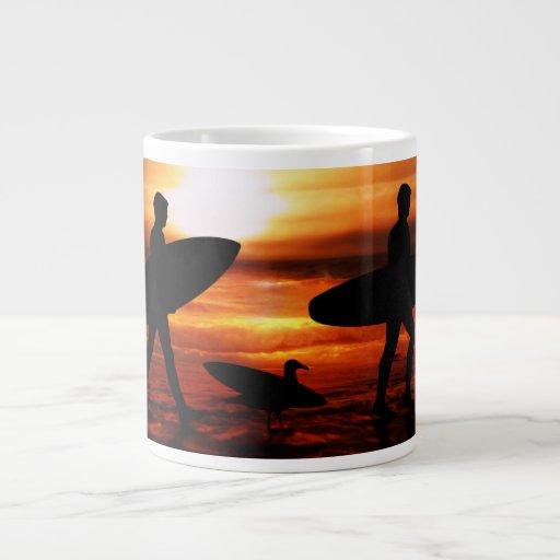 Sunset Surfers Large Coffee Mug