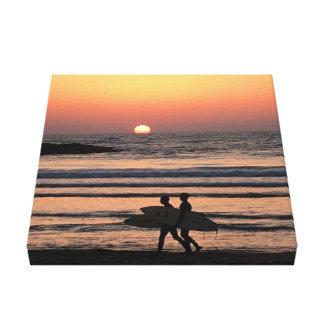Sunset - surfers on beach - 12''x12'' Canvas Print