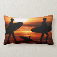 Sunset Surfers Throw Pillows