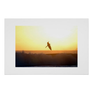 Sunset Surfing Aerial Bali Poster