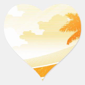 Sunset Surfing Heart Sticker
