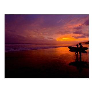 Sunset Surfing Postcard