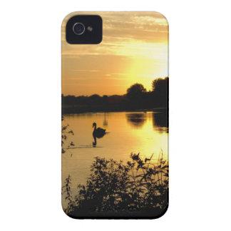 Sunset Swan Lake orange yellow iPhone 4 Case
