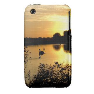 Sunset Swan Lake orange yellow iPhone 3 Cases