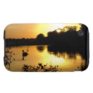 Sunset Swan Lake orange yellow Tough iPhone 3 Cover