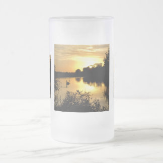 Sunset Swan Lake orange yellow Frosted Glass Frosted Glass Beer Mug