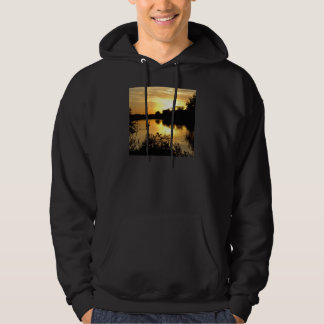 Sunset Swan Lake orange yellow Hoodie