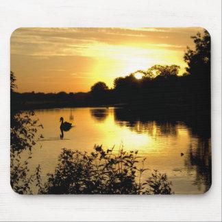 Sunset Swan Lake orange yellow Mouse Pad