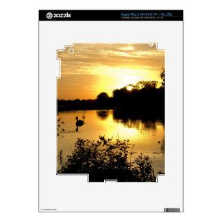 Sunset Swan Lake orange yellow Skins For iPad 3