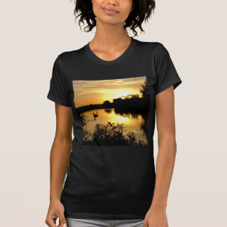 Sunset Swan Lake orange yellow T-Shirt