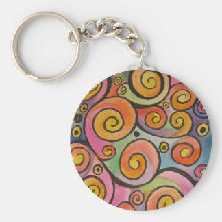 Sunset Swirls Basic Round Button Keychain