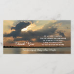 "Sunset Sympathy Thank You Memorial Photo Card<br><div class=""desc"">This stunning sympathy thank you photo card features a stunning photograph of a sunset with the words &quot;Thank You&quot; coming from under the clouds and a beautiful sympathy thank you verse along with the customized name of the family. Just a beautiful way to say thank you for your sympathy. Words...</div>"