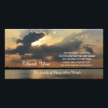 """Sunset Sympathy Thank You Memorial Photo Card<br><div class=""""desc"""">This stunning sympathy thank you photo card features a stunning photograph of a sunset with the words &quot;Thank You&quot; coming from under the clouds and a beautiful sympathy thank you verse along with the customized name of the family. Just a beautiful way to say thank you for your sympathy. Words...</div>"""