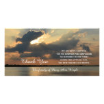 Sunset Sympathy Thank You Memorial Photo Card<br><div class='desc'>This stunning sympathy thank you photo card features a stunning photograph of a sunset with the words &quot;Thank You&quot; coming from under the clouds and a beautiful sympathy thank you verse along with the customized name of the family. Just a beautiful way to say thank you for your sympathy. Words...</div>