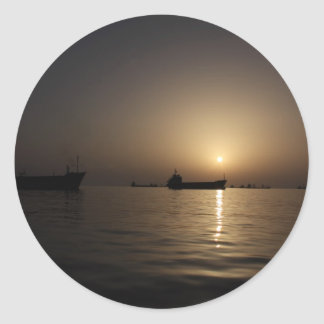 Sunset - Tartus seaport with ships Round Stickers