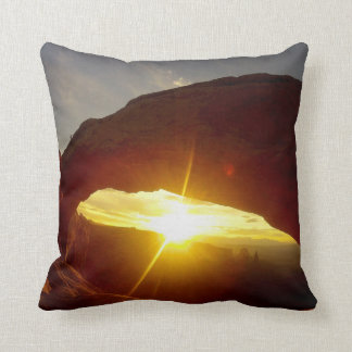 Sunset through Double O Arch, Arches National Park Throw Pillow