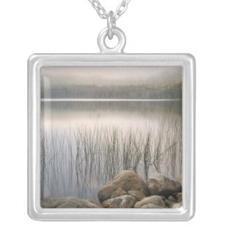 Sunset through fog over Upper Hadlock Pond Silver Plated Necklace