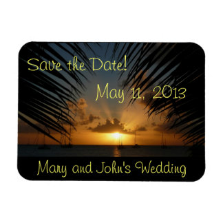 Sunset Through Palm Fronds Save the Date Magnet