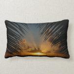 Sunset Through Palm Fronds Tropical Seascape Lumbar Pillow