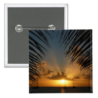 Sunset Through Palm Fronds Tropical Seascape Pinback Button