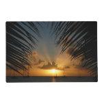 Sunset Through Palm Fronds Tropical Seascape Placemat