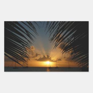 Sunset Through Palm Fronds Tropical Seascape Rectangular Sticker
